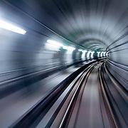 Blurry tunnel zoom effect in Copenhagen metro (Copenhagen, Denmark - May. 2008) (Image ID: 080505-0900392a)