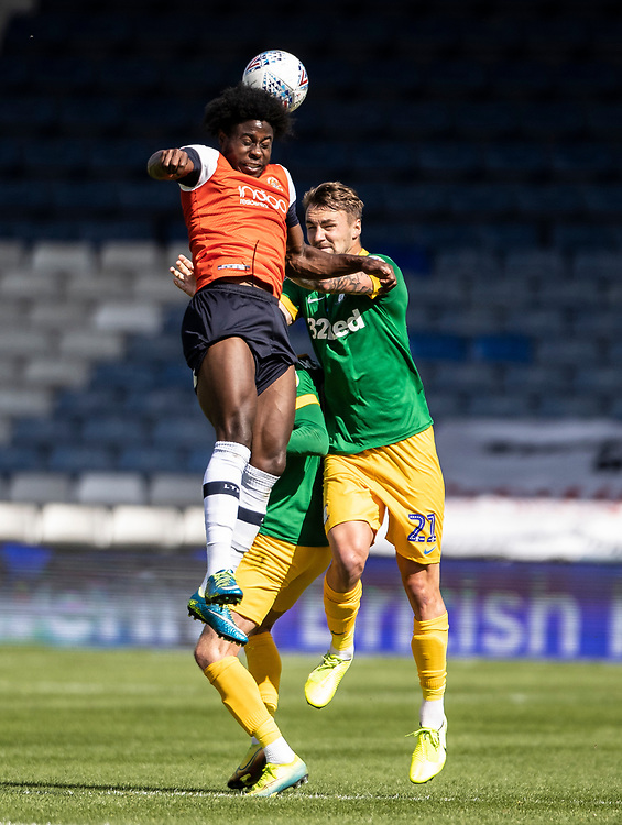 Preston North End's Patrick Bauer (right) competing with Luton Town's Pelly Ruddock <br /> <br /> Photographer Andrew Kearns/CameraSport<br /> <br /> The EFL Sky Bet Championship - Luton Town v Preston North End - Saturday 20th June 2020 - Kenilworth Road - Luton<br /> <br /> World Copyright © 2020 CameraSport. All rights reserved. 43 Linden Ave. Countesthorpe. Leicester. England. LE8 5PG - Tel: +44 (0) 116 277 4147 - admin@camerasport.com - www.camerasport.com