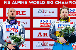 February 9, 2019 - Re, SWEDEN - 190209 Aksel Lund Svindal and Kjetil Jansrud of Norway celebrates after the men's downhill during the FIS Alpine World Ski Championships on February 9, 2019 in re..Photo: Joel Marklund / BILDBYRN / kod JM / 87853 (Credit Image: © Joel Marklund/Bildbyran via ZUMA Press)