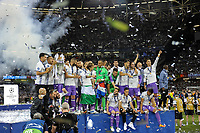 Real Madrid players lift the Champions League Trophy during the UEFA Champions League Final match between Real Madrid and Juventus at the National Stadium of Wales, Cardiff, Wales on 3 June 2017. Photo by Giuseppe Maffia.<br /> <br /> Giuseppe Maffia/UK Sports Pics Ltd/Alterphotos