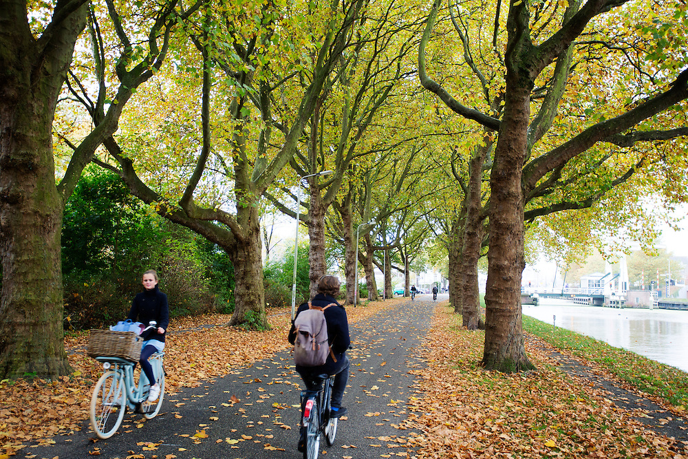 In Delft rijden fietsers door een herfstbui.<br /> <br /> In Delft cyclists ride at a rainy day at autumn.