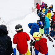 The JHMR kids EVO program drops into Corbet's Couloir. All kids' ages 8-12. BALLER.