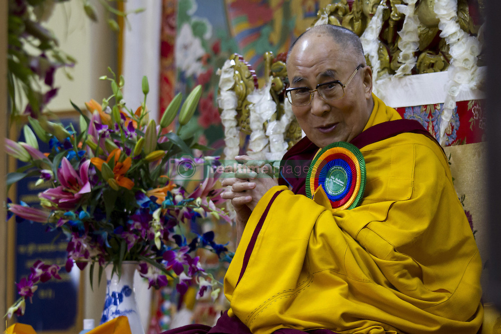 November 1, 2016 - Mcleodganj, himachal pradesh, India - His Holiness the Dalai Lama gesture during the long life prayer at Tsugla Khang Temple, Mcleodganj, Dharamshala. Hundred of Tibetan in exile and Tibetan followers participated in long life prayer for Dalai Lama. (Credit Image: © Shailesh Bhatnagar/Pacific Press via ZUMA Wire)