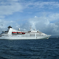 France, Martinique. Windstar's luxury yacht, the Star Pride, anchored off Martinique.