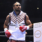 Keith Thurman is seen during introductions prior to his fight against Luis Collazo at the Premier Boxing Champions boxing match for the WBA Welterweight title on ESPN at the USF Sun Dome, on Saturday, July 11, 2015 in Tampa, Florida.  Thurman won the bout when the corner of Collazo stopped the fight at the beginning of the eighth round. (AP Photo/Alex Menendez)