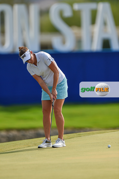 Brittany Lang (USA) watches her putt on 18 during round 2 of the 2020 ANA Inspiration, Mission Hills C.C., Rancho Mirage, California, USA. 9/11/2020.<br /> Picture: Golffile | Ken Murray<br /> <br /> All photo usage must carry mandatory copyright credit (© Golffile | Ken Murray)