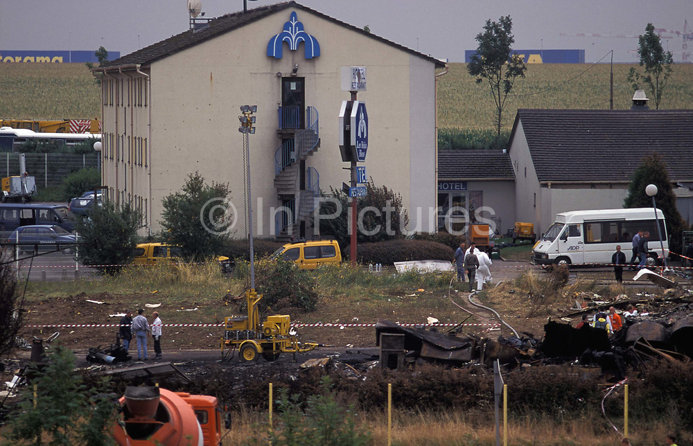 The crash site of the Air France Concorde which came down after shortly after taking off from nearby Le Bourget airport, killing all passengers and crew plus those on the ground at Hotelissimo Les Relais Bleus Hotel, on 29th July 2002, in Gonesse, Paris, France. One hundred passengers and nine crew members on board the flight died. On the ground, four people were killed and one seriously injured.