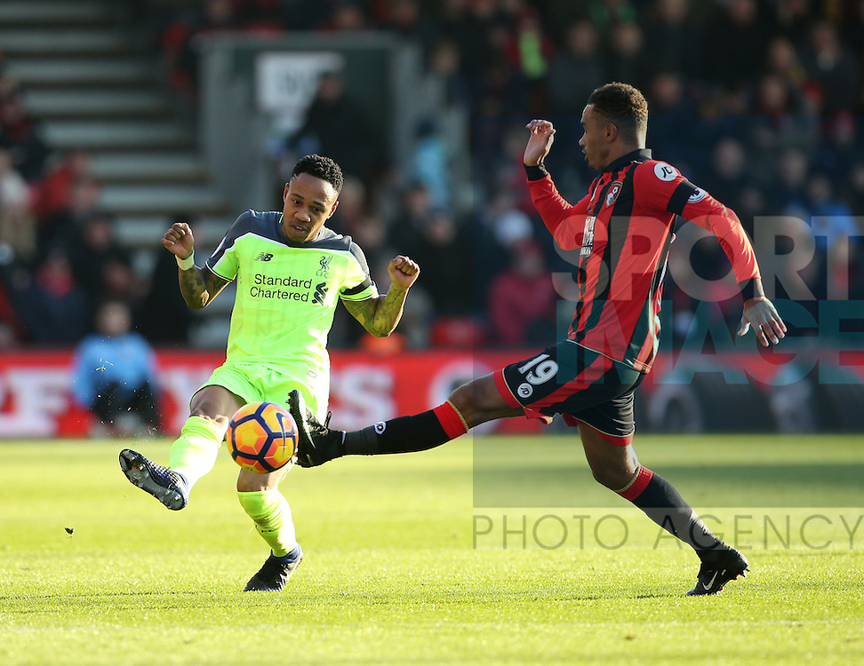 Bournemouth's Junior Stanislas tussles with Liverpool's Nathaniel Clyne during the Premier League match at the Vitality Stadium, London. Picture date December 4th, 2016 Pic David Klein/Sportimage