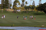 18 APR15  Sei Young Kim realizes that her approach shot went in the hole during the playoff following Saturday's Final Round of The LOTTE Championship at The Ko Olina Golf Club in Kapolei, Hawaii. (photo credit : kenneth e. dennis/kendennisphoto.com)