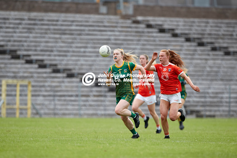 01-08-21, All Ireland Ladies SFC quarterfinal at Clones<br /> Meath v Armagh<br /> Orlagh Lally (Meath) and Niamh Marley (Armagh)<br /> Photo: David Mullen / www.quirke.ie ©John Quirke Photography, Proudstown Road Navan. Co. Meath. 046-9079044 / 087-2579454.<br /> ISO: 400; Shutter: 1/1250; Aperture: 4.5;