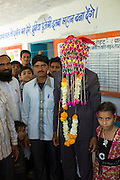 Bridegroom wearing traditional headdress at Indian wedding in village of Rohet in Rajasthan, Northern India