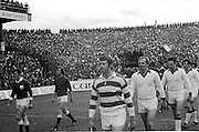 The Cork goalie lines out onto the pitch before the start of the All Ireland Senior Gaelic Football Championship Final Cork v Galway in Croke Park on the 23rd September 1973. Cork 3-17 Galway 2-13.