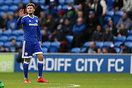 Anthony Pilkington of Cardiff city celebrates after he scores his teams 1st goal with a free-kick. The Emirates FA Cup, 3rd round match, Cardiff city v Fulham at the Cardiff city stadium in Cardiff, South Wales on Sunday 8th January 2017.<br /> pic by Andrew Orchard, Andrew Orchard sports photography.