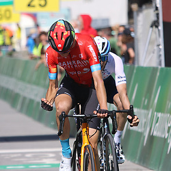 ANDERMATT (SUI) CYCLING<br /> Tour de Suisse stage 8<br /> Gino Mäder has won the final stage of the Tour of Switzerland. The rider of Bahrain - Victorious beat his co-fighter Michael Woods after a 159.5 kilometer Alpine stage over three cols.