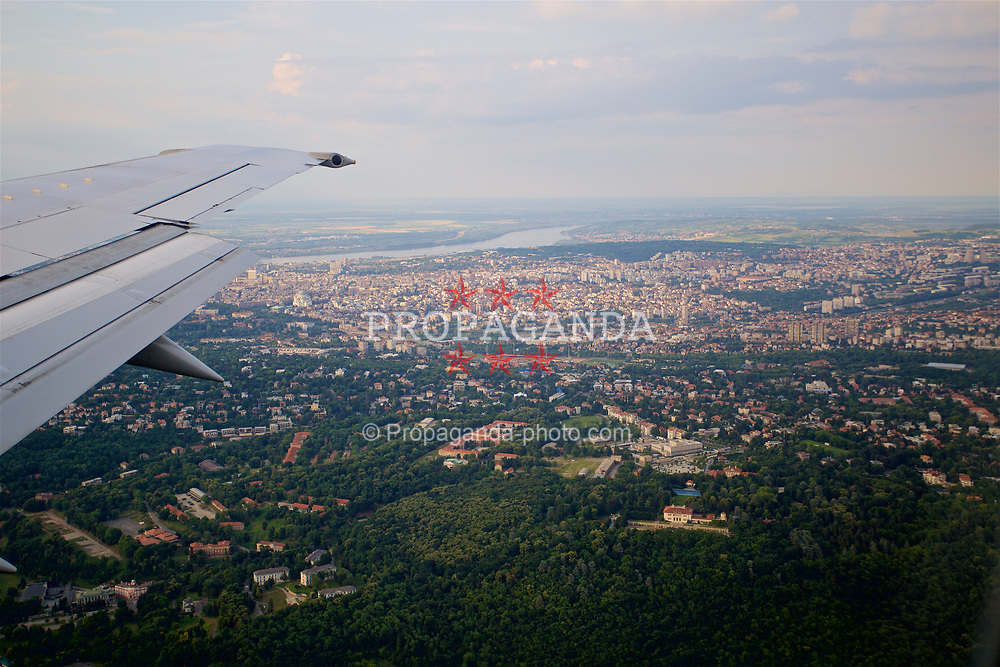 BELGRADE, SERBIA - Saturday, June 10, 2017: A view of the Red Star Stadium from the Wales team plane as it approaches Belgrade ahead of the 2018 FIFA World Cup Qualifying Group D match against Serbia. (Pic by David Rawcliffe/Propaganda)