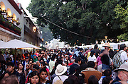 Long lines waiting to see the exhibits at the Noche de Rabanos / Night of the Radishes festival, December 23, 2012, Oaxaca, Mexico.