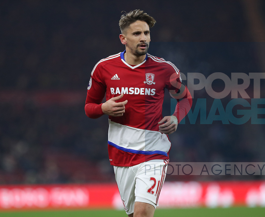 Gaston Ramirez of Middlesbrough during the English Premier League match at Riverside Stadium, Middlesbrough. Picture date: December 5th, 2016. Pic Jamie Tyerman/Sportimage
