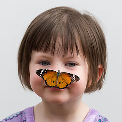 © Licensed to London News Pictures. 31/03/2015. London, UK. Georgia Ball-Keely (aged 4) with a plain tiger butterfly on her face at the Sensational Butterflies exhibition at the Natural History Museum in London. The Sensational butterflies exhibition runs at the Natural History Museum in London from 2 April 2015 to 13 September 2015. Photo credit : Vickie Flores/LNP