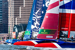Rome Kirby, U.S. SailGP Team, and Dylan Fletcher, Great Britain SailGP Team, compete on the Hudson River, New York during race Day 2 Event 3 Season 1 SailGP event in New York City, New York, United States. 22 June 2019. Photo: Drew Malcolm for SailGP. Handout image supplied by SailGP
