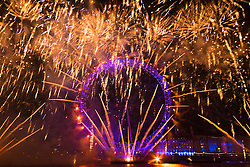 London, January1st 2017. The traditional New Year's fireworks display takes place at the London Eye on the banks of the River Thames, creating a spectacle for thousands of revellers on the Embankment.