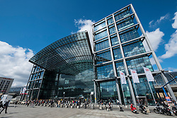 Exterior view of Berlin Hauptbahnhof main railway station in Germany
