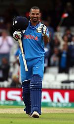 June 8, 2017 - London, United Kingdom - Shikhar Dhawan of India celebrates his centuryduring the ICC Champions Trophy match Group B between India and Sri Lanka at The Oval in London on June 08, 2017  (Credit Image: © Kieran Galvin/NurPhoto via ZUMA Press)