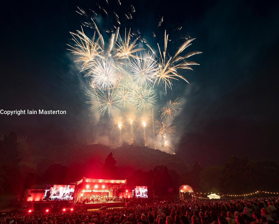 Edinburgh, Scotland, UK. 26 August 2019. Virgin Money Fireworks Concert at Edinburgh Castle and Princes Street gardens to mark the end of the 2019 Edinburgh international Festival. Music performed by the Scottish chamber Orchestra.  Iain Masterton/Alamy Live News.