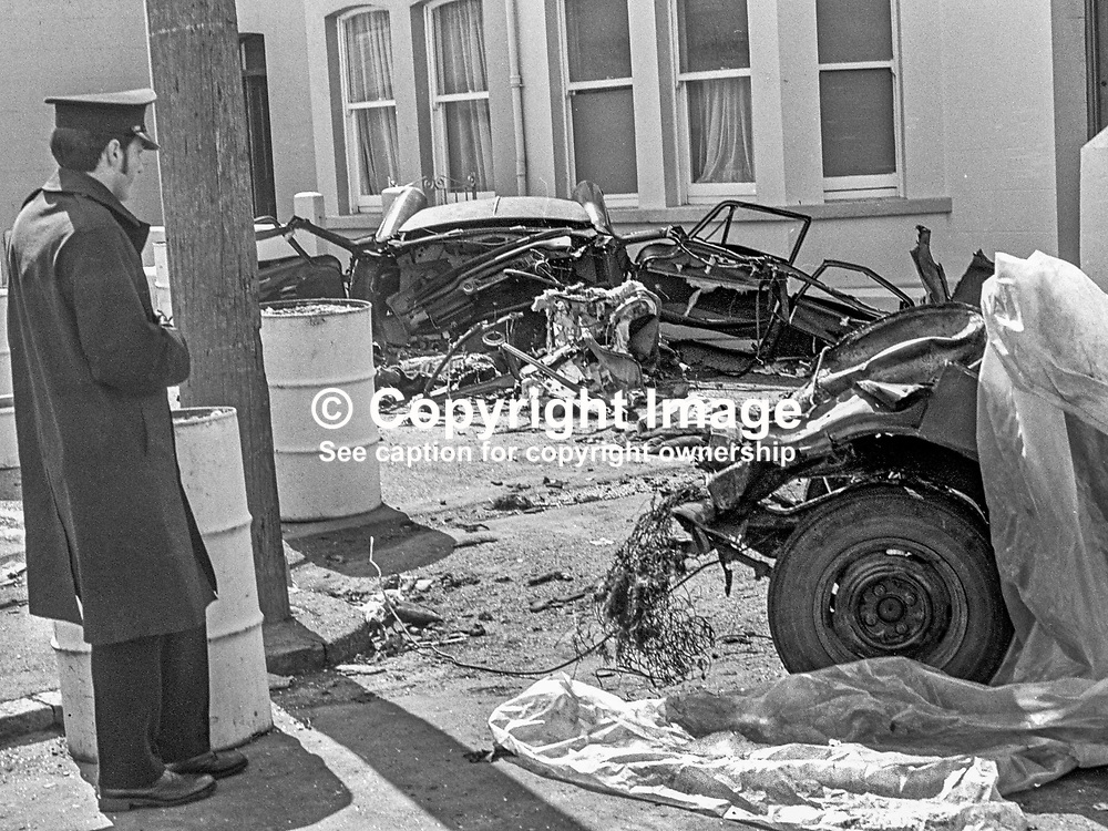 The scene of devastation in Causeway Road, Newcastle, Co Down, N Ireland, UK, after a Provisional IRA bomb exploded en route to a target. The bombers, an engaged couple, died instantaneously in the blast as their car was ripped apart. The incident happened just before midnight on 21st July 1973 in a quiet suburb of one of N Ireland's most popular seaside resorts. The couple, both 21 years, who died were Alphonsus Cunningham, from nearby Annalong, and Pauline Kane, from Castlewellan. 197307210513c<br /> <br /> Copyright Image from Victor Patterson, Belfast, UK<br /> <br /> t: +44 28 9066 1296 (from Rep of Ireland 048 9066 1296)<br /> m: +44 7802 353836<br /> e: victorpattersonbelfast@gmail.com<br /> <br /> www.images4media.com<br /> <br /> Please see my full Terms and Conditions of Use at https://www.images4media.com/p/terms-conditions - it is IMPORTANT that you familiarise yourself with them.<br /> <br /> Images used online incur an additional cost. This cost should be agreed in writing in advance. Online images must be visibly watermarked i.e. © Victor Patterson or that of the named photographer within the body of the image. The original metadata must not be deleted from images used online.<br /> <br /> This image is only available for the use of the download recipient i.e. television station, newspaper, magazine, book publisher, etc, and must not be passed on to a third party. It is also downloaded on condition that each and every usage is notified within 7 days to victorpattersonbelfast@gmail.com.<br /> <br /> The right of Victor Patterson (or the named photographer) to be identified as the author is asserted in accordance with The Copyright Designs And Patents Act (1988). All moral rights are asserted.