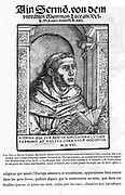 Martin Luther (1483-1546) German Protestant reformer. Woodcut after portrait by Cranach (1520) from title page of sermon against the authority of the Church published 1522.