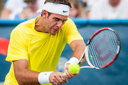 Argentina's Juan Martin Del Potro hits his return to USA's Ryan Harrison during their men's singles match at the Citi Open ATP tennis tournament in Washington, DC, USA, 1 Aug 2013. Del Potro won the match 6-1,7-5 to advance.