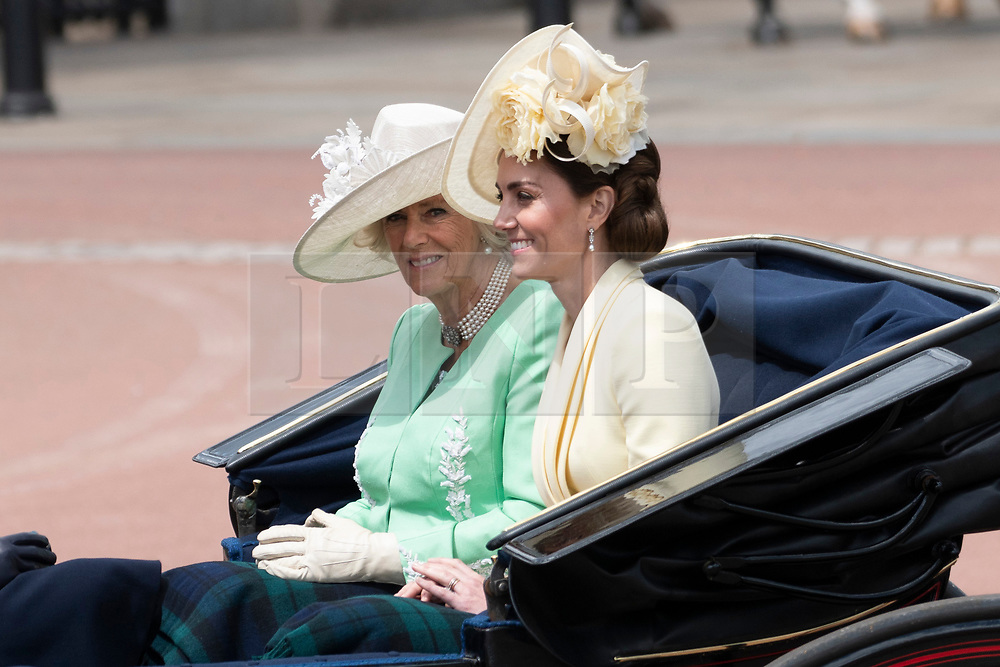 © Licensed to London News Pictures. 08/06/2019. London, UK. The Duchess of Cornwall and Catherine, Duchess of Cambridge travel to Buckingham Palace during the Trooping the Colour ceremony to mark Queen Elizabeth II's 93rd birthday. Photo credit: Ray Tang/LNP