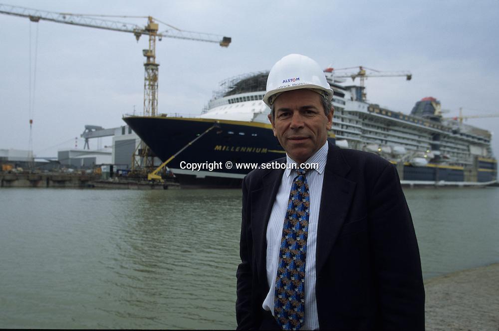 France. Saint Nazaire. Alsthom Atlantique.  shipyard in . Mr Boissier le directeur     /       Le chantier naval alstom atlantique, Mr Boissier directeur
