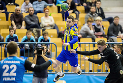 Miha Zarabec of RK Celje PL during handball match between RK Celje Pivovarna Lasko and RK Gorenje Velenje in Eighth Final Round of Slovenian Cup 2015/16, on December 10, 2015 in Arena Zlatorog, Celje, Slovenia. Photo by Vid Ponikvar / Sportida