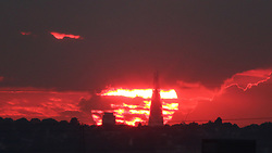 © Licensed to London News Pictures. 02/09/2017. London, UK. The sun setting behind the Shard in London last night (1st September) - the first day of meteorological autumn. Photo credit : Rob Powell/LNP