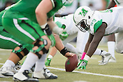 Marshall Thundering Herd defensive lineman Jason Smith (99) lines up against the North Texas Mean Green during the 1st half at Apogee Stadium in Denton, Texas on October 8, 2016. (Cooper Neill for The Herald-Dispatch)