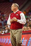 Jan 8, 2012; Fayetteville, AR, USA; Arkansas Razorbacks head coach Tom Collen reacts to a play during a game against the Tennessee Lady Volunteers at Bud Walton Arena. Tennessee defeated Arkansas 69-38. Mandatory Credit: Beth Hall-US PRESSWIRE