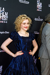 LOS ANGELES, CA - JUNE 10: Julia Garner attends the opening night premiere of 'Grandma' during the 2015 Los Angeles Film Festival at Regal Cinemas L.A. Live on June 10, 2015. Byline, credit, TV usage, web usage or linkback must read SILVEXPHOTO.COM. Failure to byline correctly will incur double the agreed fee. Tel: +1 714 504 6870.
