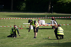 © Licensed to London News Pictures. 07/05/2020. London, UK. White lines being sprayed on to a playing field at Paddington Recreation Ground in London. Government is set to announce measures to easy lockdown, which was introduced to fight the spread of the COVID-19 strain of coronavirus.. Photo credit: Ben Cawthra/LNP