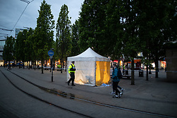 © Licensed to London News Pictures . 03/05/2019. Manchester, UK. Forensic tent at the scene . Police have cordoned off several square blocks around Piccadilly Gardens in Manchester City Centre following concern that a device . A tent has been erected and a man has been arrested in connection with the incident . Oldham Library has also been evacuated on what is believed to be a connected incident . Photo credit: Joel Goodman/LNP