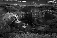 Palouse Falls in black and white in Southeastern Washington as it approaches sunset on a warm late Spring day.