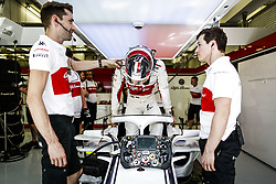 April 7, 2018 - Sakhir, Bahrain - LECLERC Charles (mco), Alfa Romeo Sauber F1 Team C37, portrait garage during 2018 Formula 1 FIA world championship, Bahrain Grand Prix, at Sakhir from April 5 to 8  I  Motorsports: FIA Formula One World Championship 2018, Grand Prix of Bahrain,, #16 Charles Leclerc (MON Alfa Romeo Sauber F1 Team) (Credit Image: © Hoch Zwei via ZUMA Wire)