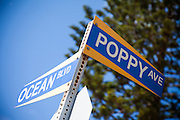 Poppy Ave and Ocean Blvd Street Sign in Corona Del Mar California