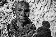 A black and white portrait of an old Rendille tribe women wearing beaded necklaces,black and white, Lake Turkana, Loiyangalani,Kenya, Africa