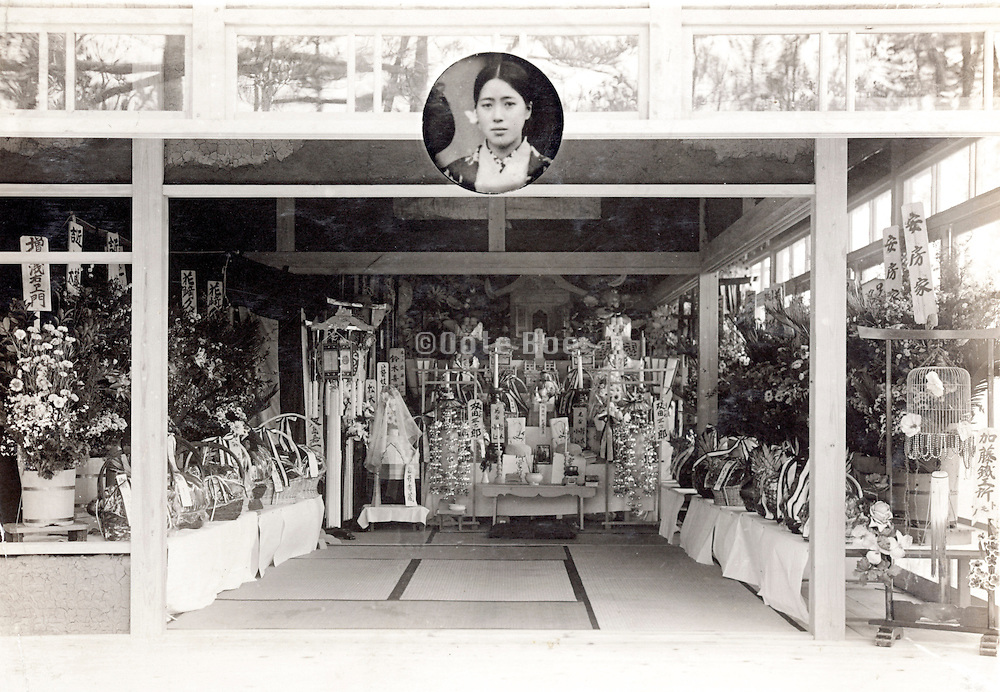 funeral memorial photo Japan 1930s with portrait of the person