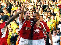 Photo: Ashley Pickering.<br /> Norwich City v Bristol City. Coca Cola Championship. 20/10/2007.<br /> Lee Trundle (R) celebrates his goal with Bradley Orr