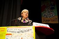 08 JAN 2011, BERLIN/GERMANY:<br /> Gesine Loetzsch, Die Linke Parteivorsitzende, haelt eine Rede, 16. Internationale Rosa-Luxenburg-Konferenz, Urania Haus<br /> IMAGE: 20110108-01-023<br /> KEYWORDS: Kommunismus, Gesine Lötzsch