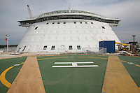 Oasis of the Seas at the shipyard in Turku, Finland where she is being built..Photos show Royal Caribbean's latest  ship 2 months before completion. .Helipad & the Bridge