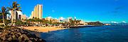 Waikiki skyline panorama with Diamond Head in the distance