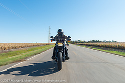 Meta Magazine publisher Andrew Campo riding a 2018 Harley-Davidson Fat Bob with it's Milwaukee-8 engine in the new Softail frame for the USS South Dakota submarine flag relay near Groton as it crosses South Dakota. USA. Sunday October 8, 2017. Photography ©2017 Michael Lichter.