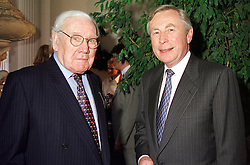 Left to right, LORD KING and LORD MARSHALL, at a <br /> reception in London on 12th July 2000.OGG 14<br /> © Desmond O'Neill Features:- 020 8971 9600<br />    10 Victoria Mews, London.  SW18 3PY <br /> www.donfeatures.com   photos@donfeatures.com<br /> MINIMUM REPRODUCTION FEE AS AGREED.<br /> PHOTOGRAPH BY DOMINIC O'NEILL